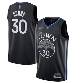 Men's Warriors #30 Stephen Curry Black Basketball Swingman City Edition 2019-2020 Jersey