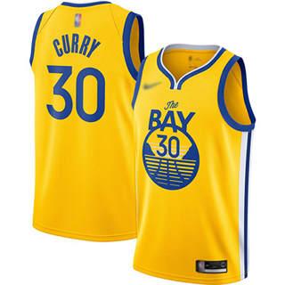 Men's Warriors #30 Stephen Curry Gold Basketball Swingman Statement Edition 2019-2020 Jersey