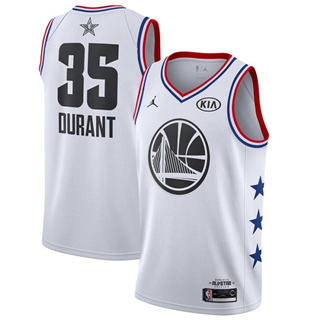 Men's Warriors #35 Kevin Durant White Basketball Jordan Swingman 2019 All-Star Game Jersey