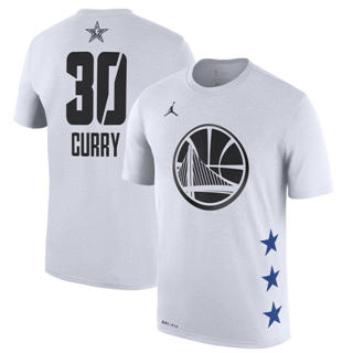 Men's Warriors 30 Stephen Curry White 2019 Basketball All-Star Game T-Shirt