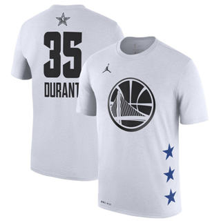 Men's Warriors 35 Kevin Durant White 2019 Basketball All-Star Game T-Shirt