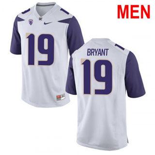 Men's Washington Huskies #19 Hunter Bryant White Football Jersey