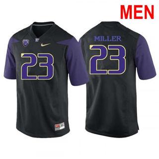 Men's Washington Huskies #23 Jordan Miller Black Football Jersey