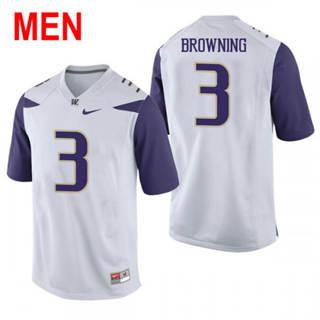 Men's Washington Huskies #3 Jake Browning White Football Jersey