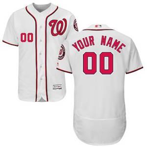 Men's Washington Nationals Customized Home White Flex Base Custom Baseball Baseball Jersey