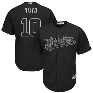 Men's White Sox #10 Yoan Moncada Black Yoyo Players Weekend Cool Base Stitched Baseball Jersey