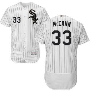 Men's White Sox #33 James McCann White(Black Strip) Flexbase  Collection Stitched Baseball Jersey
