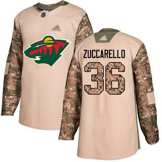 Men's Wild #36 Mats Zuccarello Camo  2017 Veterans Day Stitched Hockey Jersey