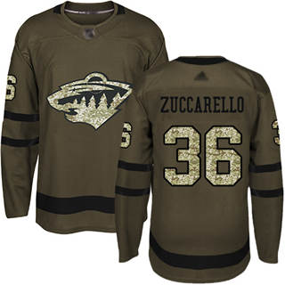 Men's Wild #36 Mats Zuccarello Green Salute to Service Stitched Hockey Jersey