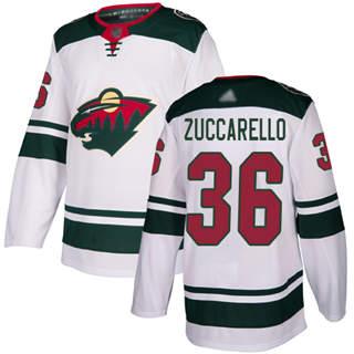 Men's Wild #36 Mats Zuccarello White Road  Stitched Hockey Jersey
