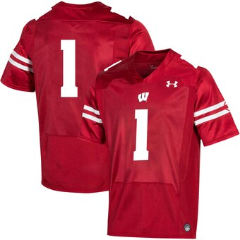Men's Wisconsin Badgers #1 Wisconsin Badgers Premier Football Jersey - Red