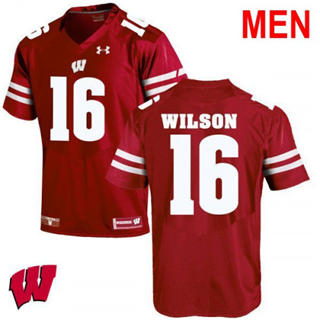 Men's Wisconsin Badgers #16 Russell Wilson Red 2019 NCAA Football Jersey