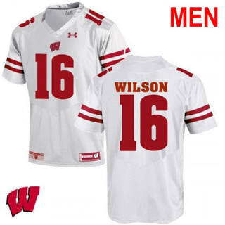 Men's Wisconsin Badgers #16 Russell Wilson White 2019 NCAA Football Jersey