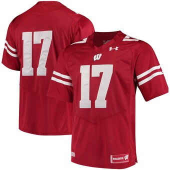 Men's Wisconsin Badgers #17 Wisconsin Badgers Premier Performance Football Jersey - Red