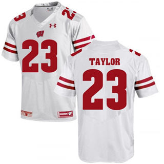 Men's Wisconsin Badgers #23 Jonathan Taylor Jersey White NCAA 19-20