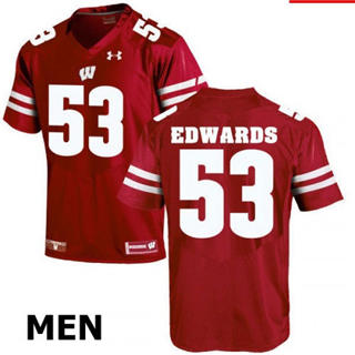 Men's Wisconsin Badgers #53 TJ Edwards Red NCAA Football Jersey