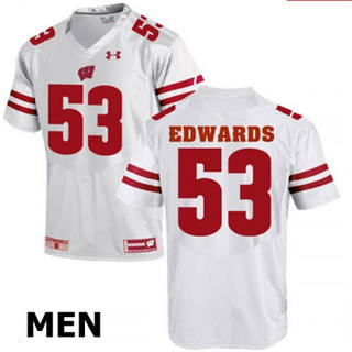 Men's Wisconsin Badgers #53 TJ Edwards White NCAA Football Jersey
