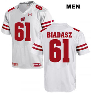 Men's Wisconsin Badgers #61 Tyler Biadasz Jersey White NCAA 19-20