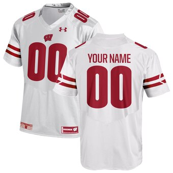 Men's Wisconsin Badgers Custom Name Number NCAA Football Jersey White