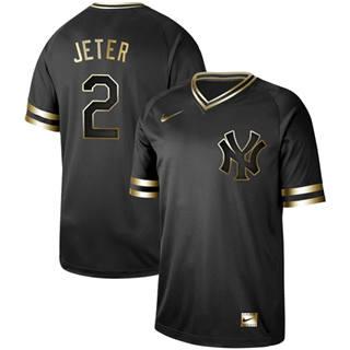 Men's Yankees #2 Derek Jeter Black Gold  Stitched Baseball Jersey