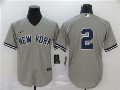 Men's Yankees #2 Derek Jeter Gray 2020 Stitched Baseball Cool Base Jersey