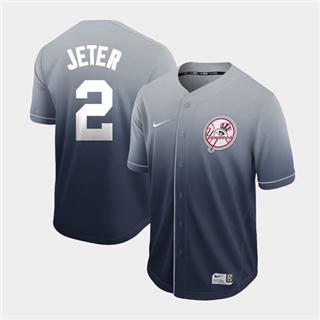 Men's Yankees #2 Derek Jeter Navy Fade  Stitched Baseball Jersey
