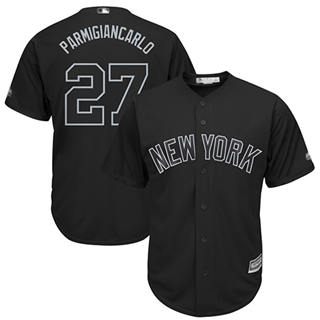 Men's Yankees #27 Giancarlo Stanton Black Parmigiancarlo Players Weekend Cool Base Stitched Baseball Jersey