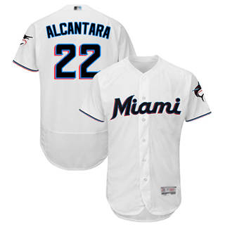 Men's marlins #22 Sandy Alcantara White Flexbase  Collection Stitched Baseball Jersey