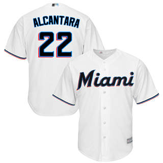 Men's marlins #22 Sandy Alcantara White New Cool Base Stitched Baseball Jersey