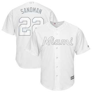 Men's marlins #22 Sandy Alcantara White Sandman Players Weekend Cool Base Stitched Baseball Jersey