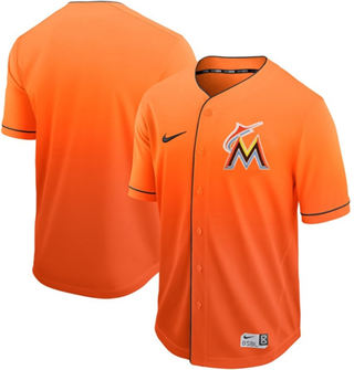 Men's marlins Blank Orange Fade  Stitched Baseball Jersey