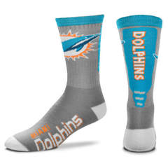 Miami Dolphins For Bare Feet Cool Gray Jump Key Crew Socks