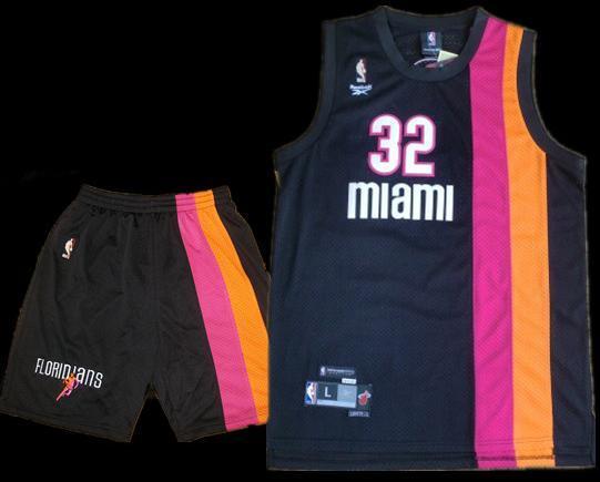 Miami Floridians 32 Shaquille O'Neal Black ABA Hardwood Classic Swingman Jersey & Shorts Suit