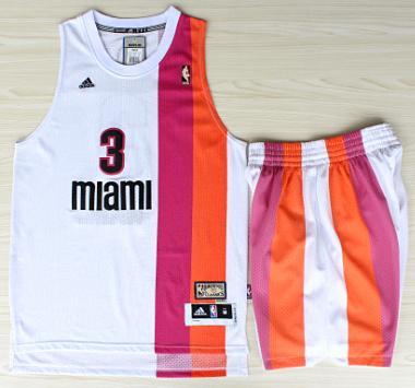 Miami Floridians Heat 3 Dwyane Wade ABA Hardwood Classic Swingman Jerseys Shorts Basketball Suits