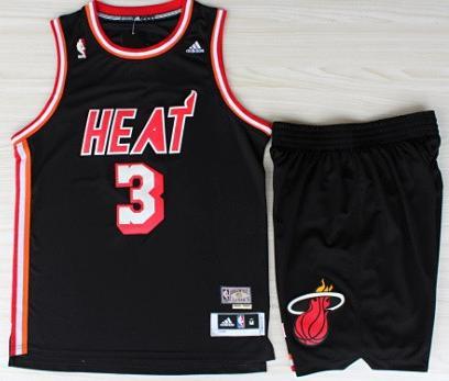 Miami Heat 3 Dwyane Wadet Black Hardwood Classics Revolution 30 Swingman Jerseys Shorts Basketball Suits
