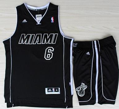 Miami Heat 6 LeBron James Black With White Shadow Revolution 30 Jerseys Shorts Basketball Suits