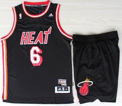 Miami Heat 6 LeBron Jamest Black Hardwood Classics Revolution 30 Swingman Jerseys Shorts Basketball Suits