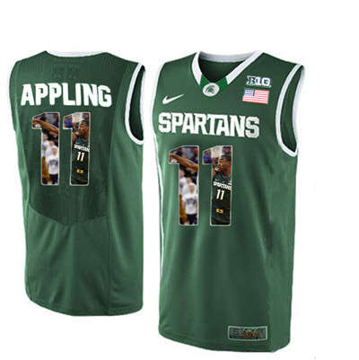 Michigan State Spartans #11 Keith Appling Green With Portrait Print College Basketball Football Jersey