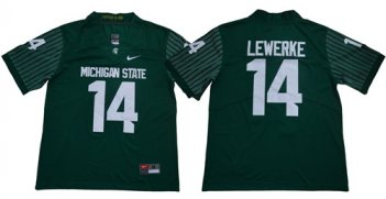 Michigan State Spartans #14 Brian Lewerke Green Limited Stitched NCAA Jersey