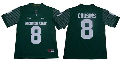 Michigan State Spartans #8 Kirk Cousins Green Limited Stitched NCAA College Football Jersey