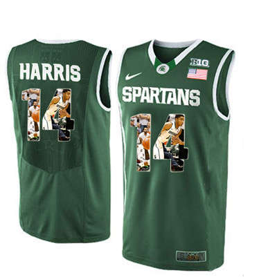 Michigan State Spartans 14 Garry Harris Green With Portrait Print College Basketball Football Jersey