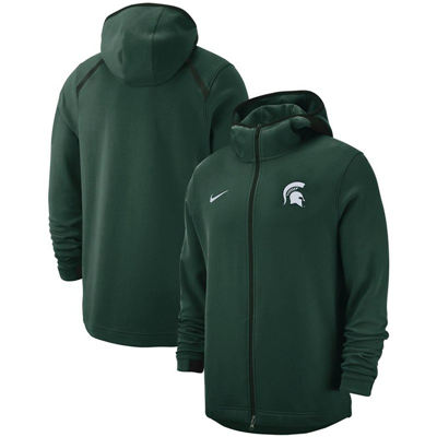 Michigan State Spartans 2018-2019 On-Court Basketball Player Showtime Performance Full-Zip Hoodie – Green