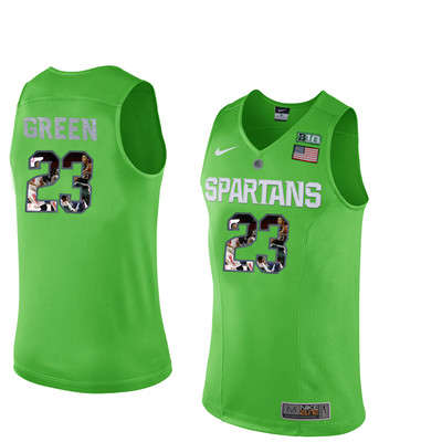 Michigan State Spartans 23 Draymond Green Apple Green With Portrait Print College Basketball Football Jersey