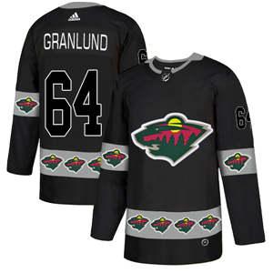 Minnesota Wild #64 Mikael Granlund Black Team Logos Fashion  Jersey
