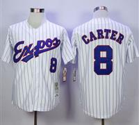 Mitchell And Ness 1982 Montreal Expos #8 Gary Carter White(Black Strip) Throwback Stitched Baseball Jersey