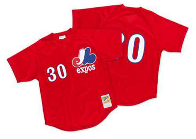 Mitchell And Ness 1989 Expos #30 Tim Raines Red Throwback Stitched Baseball Jersey