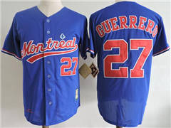 Mitchell And Ness 2004 Expos #27 Vladimir Guerrero Blue Throwback Stitched Baseball Jersey