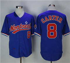 Mitchell And Ness BP Montreal Expos #8 Gary Carter Blue Throwback Stitched Baseball Jersey