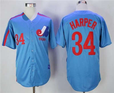 Mitchell And Ness Expos #34 Bryce Harper Blue Throwback Stitched Baseball Jersey