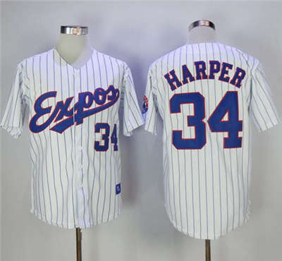 Mitchell And Ness Expos #34 Bryce Harper White Strip Throwback Stitched Baseball Jersey